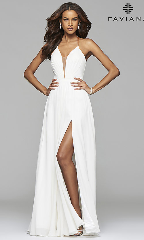 Image of long low v-neck thigh slit corset back dress  Style: FA-7747 Detail Image 1