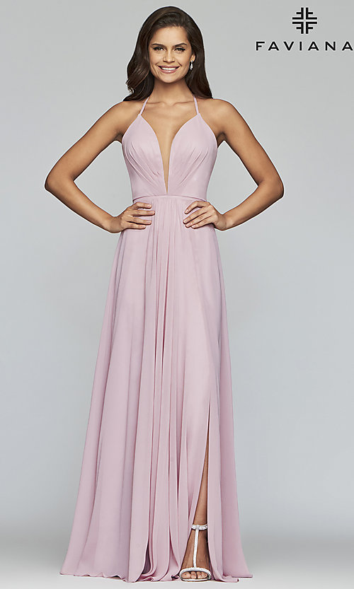 Image of long low v-neck thigh slit corset back dress  Style: FA-7747 Detail Image 4