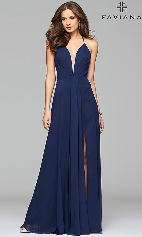 Image of long low v-neck thigh slit corset back dress  Style: FA-7747 Detail Image 3
