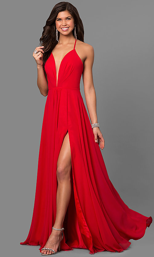 Image of long low v-neck thigh slit corset back dress  Style: FA-7747 Front Image