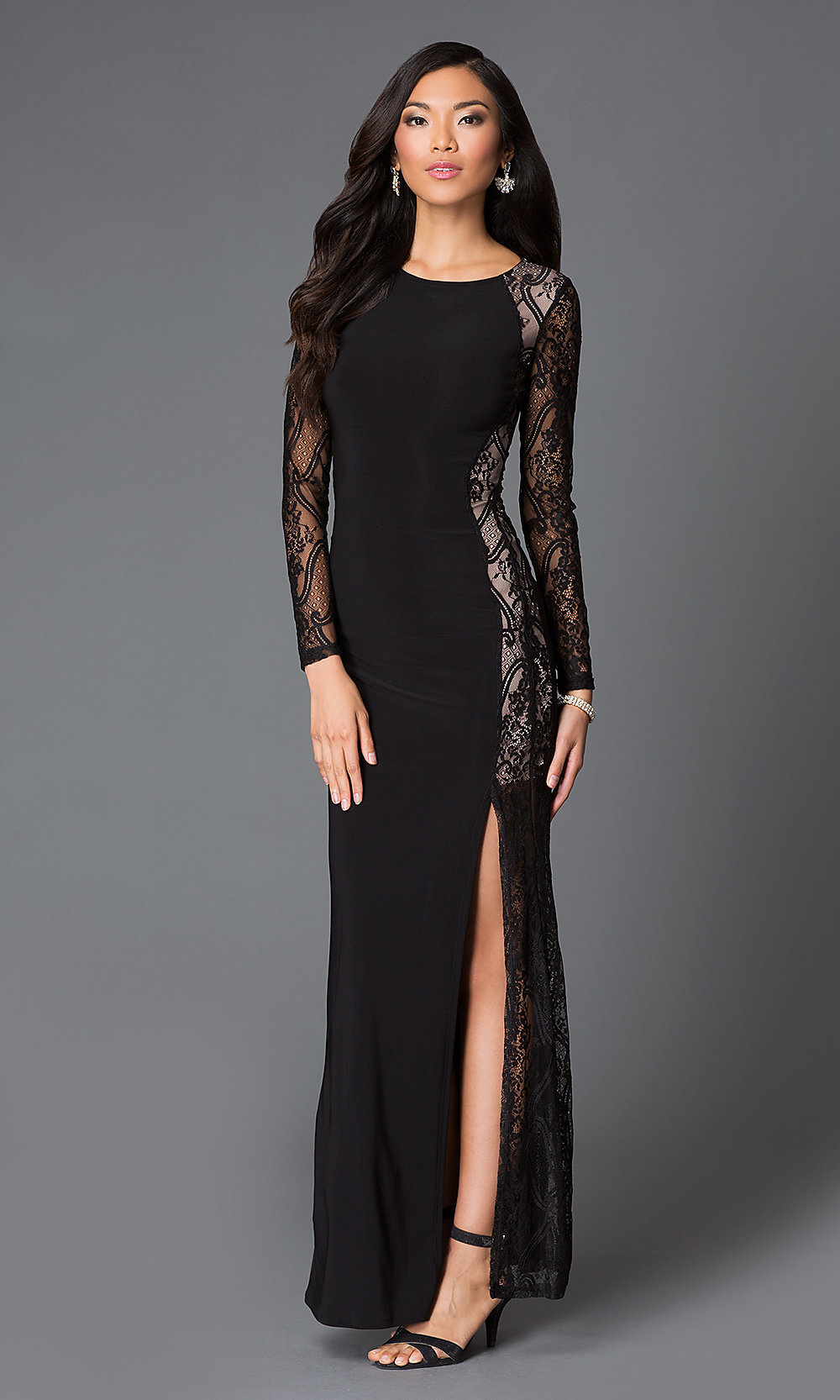 black long sleeve floor length lace dresspromgirl
