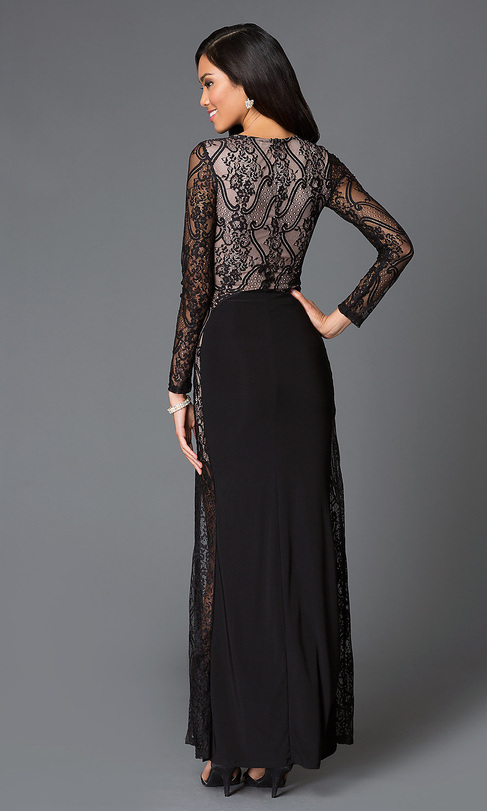 Black Long Sleeve Floor Length Lace Dress-PromGirl