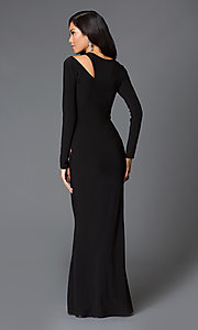 Image of floor length hip and shoulder cut out black dress Style: MD-D14019AB Back Image