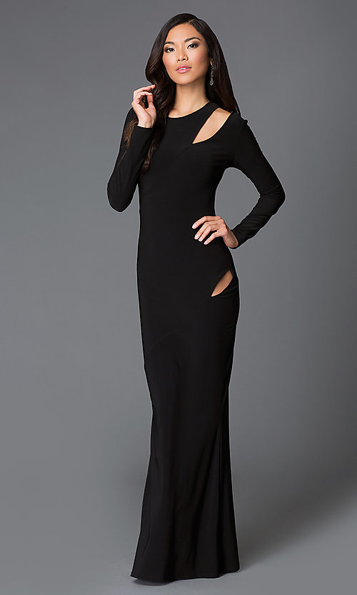 Image of floor length hip and shoulder cut out black dress Style: MD-D14019AB Front Image