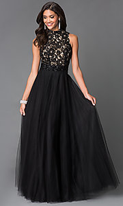 Sean Black Chiffon High Neck Prom Dress