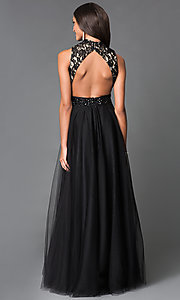 Image of black lace bodice beaded waistline chiffon skirt long dress  Style: SN-50824 Back Image