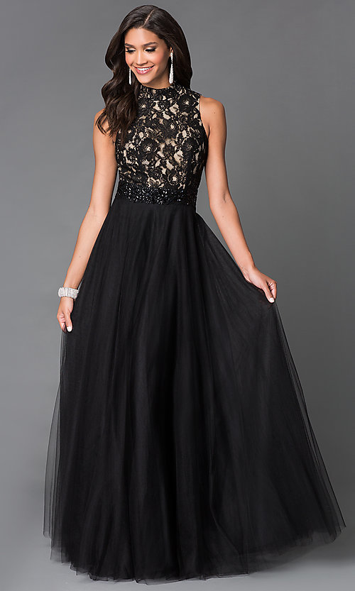 Image of black lace bodice beaded waistline chiffon skirt long dress  Style: SN-50824 Front Image