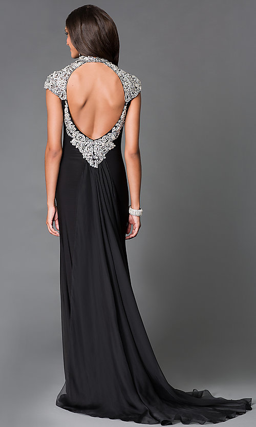 Image of long black jewel embellished high neck open back dress  Style: SN-50831 Back Image