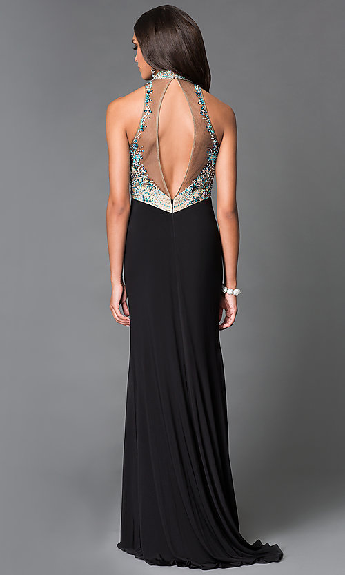Image of long black high neck jewel embellished top gown  Style: SN-50840 Back Image