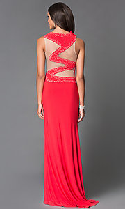 Long Red High Neck Sean Prom Dress with Illusion Back