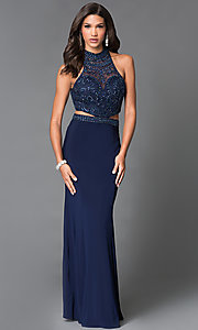 Image of long two piece sheer jeweled bodice gown   Style: SN-50851 Front Image