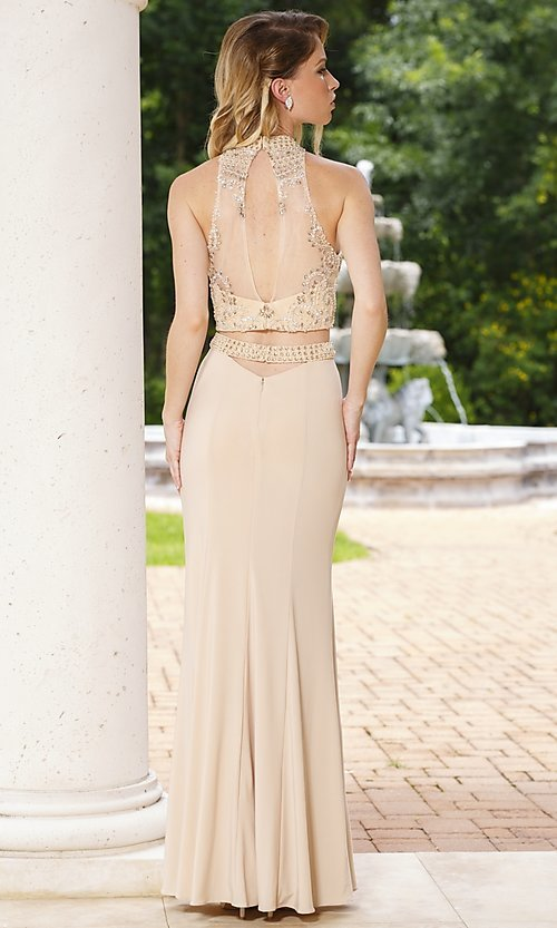 Image of long two piece sheer jeweled bodice gown   Style: SN-50851 Back Image