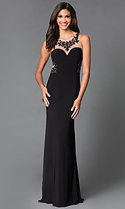 Image of long black sheer embellished back illusion sweetheart dress Style: SN-50870 Back Image