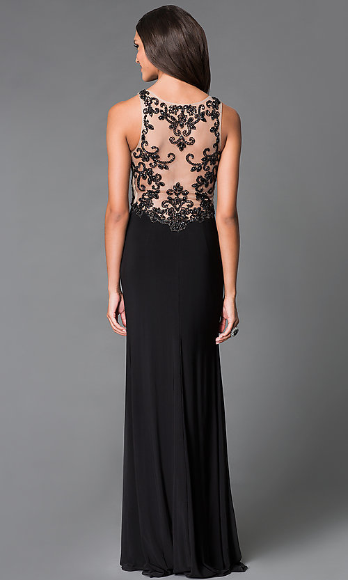 Image of long black sheer embellished back illusion sweetheart dress Style: SN-50870 Front Image