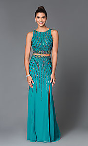 Long Chiffon Two Piece High Neck Sean Prom Dress SN-50909