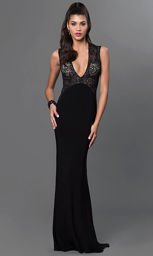 Image of Low V-Neck Long Lace Prom Dress Style: XT-32581 Front Image