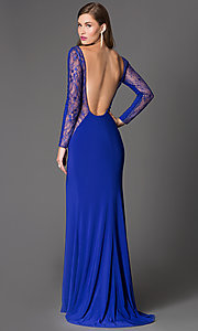 Image of floor length open back lace cut out thigh slit dress  Style: XT-32583 Back Image