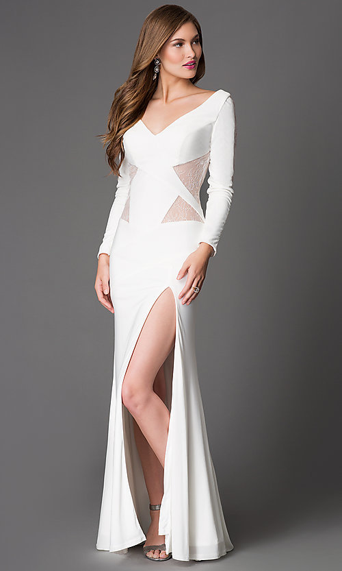 Image of floor length open back lace cut out thigh slit dress  Style: XT-32583 Front Image
