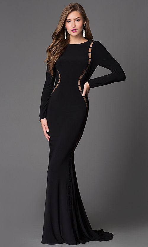 Image of long sleeve backless cut out long dress Style: XT-32593 Front Image