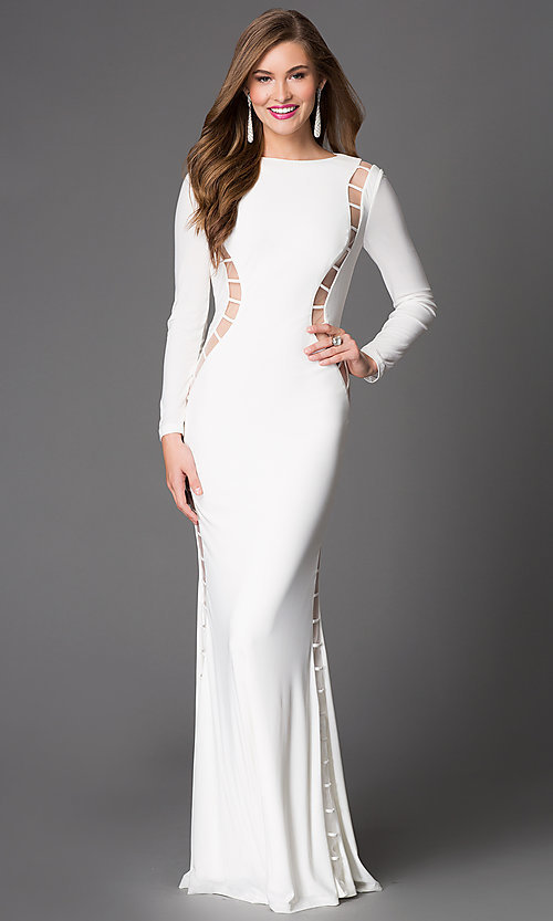 Image of long sleeve backless cut out long dress Style: XT-32593 Detail Image 3