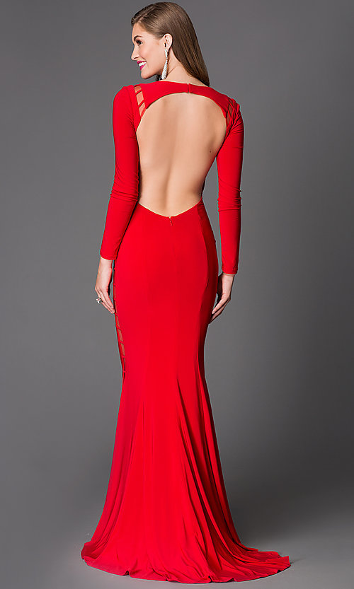 Image of long sleeve backless cut out long dress Style: XT-32593 Back Image
