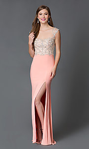 Long Illusion Neckline Prom Dress XT-32639 by Xtreme