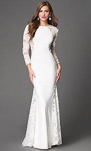 Image of floor length long sleeve lace illusion dress  Style: XC-30614 Detail Image 1