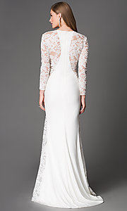Image of floor length long sleeve lace illusion dress  Style: XC-30614 Back Image