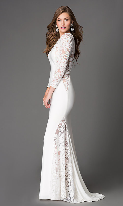 Image of floor length long sleeve lace illusion dress  Style: XC-30614 Front Image
