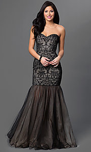 Dropped Waist Lace and Tulle Strapless Sweetheart Xcite Prom Dress