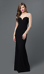 Open Back Floor Length Xcite Prom Dress with Sheer Long Sleeves