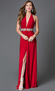 Xcite Halter Floor Length Prom Dress with Jewel Waist