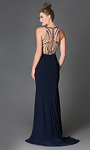 Image of long sleeveless beaded illusion high-neck dress Style: XC-30656 Back Image