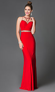 Image of long sleeveless beaded illusion high-neck dress Style: XC-30656 Front Image