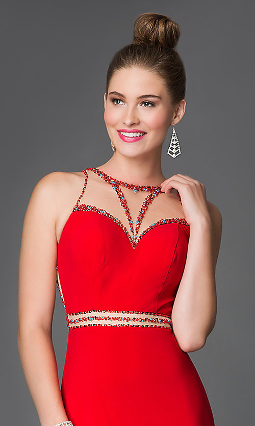 Image of long sleeveless beaded illusion high-neck dress Style: XC-30656 Detail Image 1