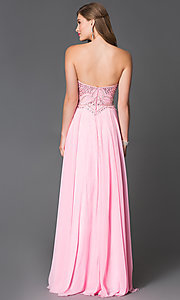 Image of long jewel-embellished pink chiffon prom dress Style: XC-30658 Back Image