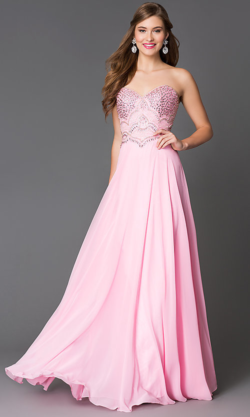 Image of long jewel-embellished pink chiffon prom dress Style: XC-30658 Front Image