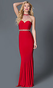High-Neck Floor-Length Jeweled Illusion Prom Dress
