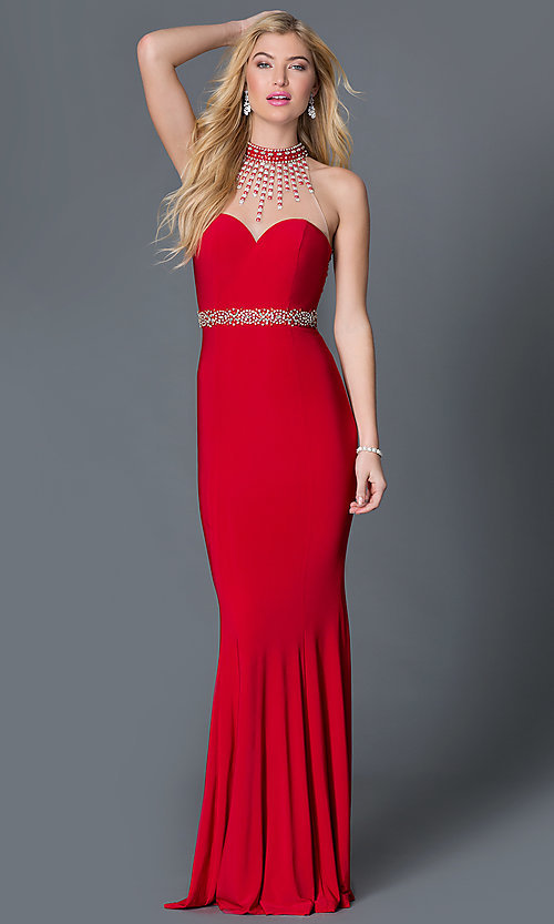 Image of long high-neck dress with jewel detail Style: XC-30672 Front Image