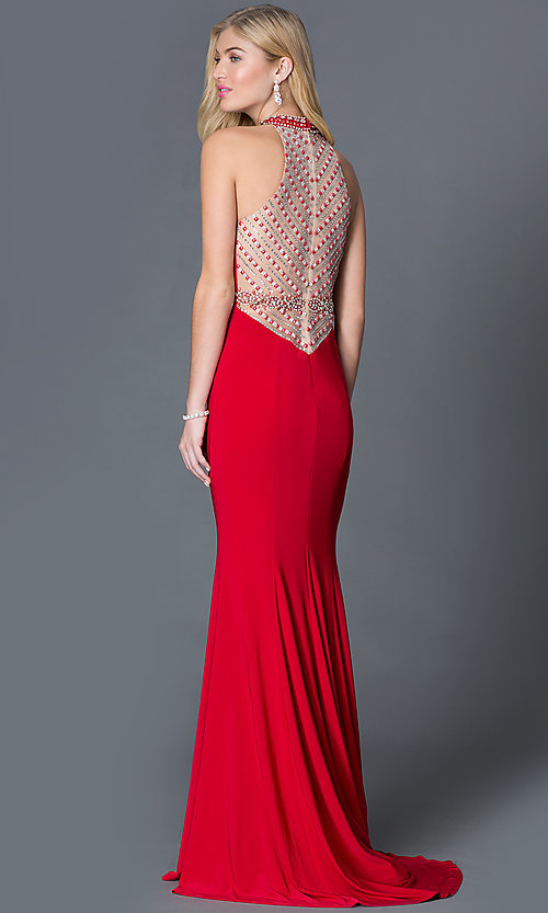 Image of long high-neck dress with jewel detail Style: XC-30672 Back Image