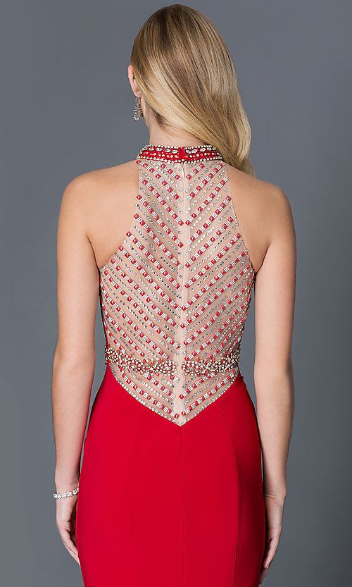 Image of long high-neck dress with jewel detail Style: XC-30672 Detail Image 1