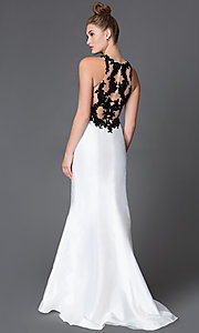 High Neck Empire Waist Xcite Prom Dress with Lace Embellished Bodice