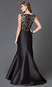 Image of floor length lace back v-neck trumpet dress  Style: XC-30680 Detail Image 2