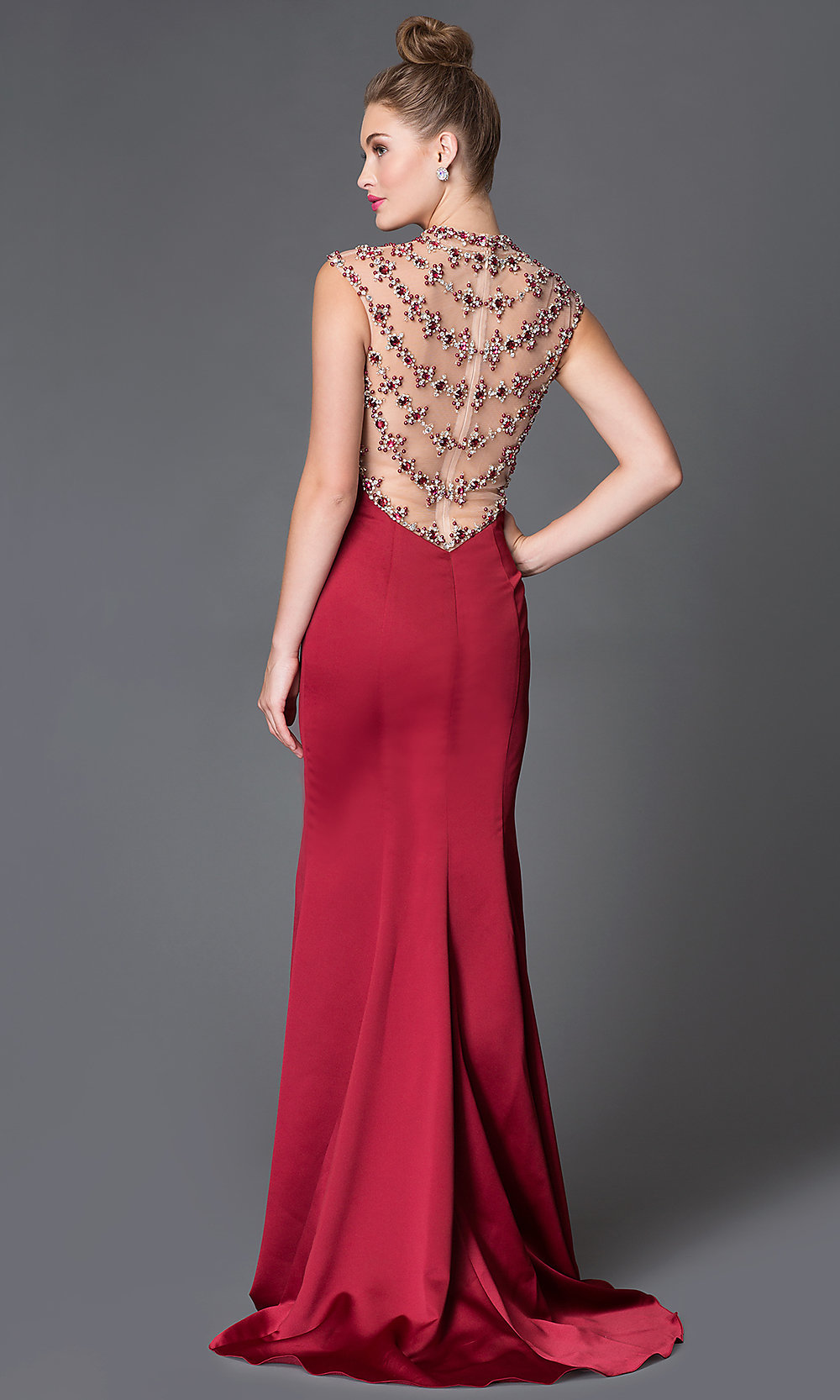 Illusion Back Floor Length Xcite Prom Dress