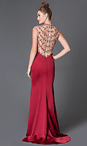 Gorgeous Floor Length Xcite Prom Dress with Illusion Neckline and Back