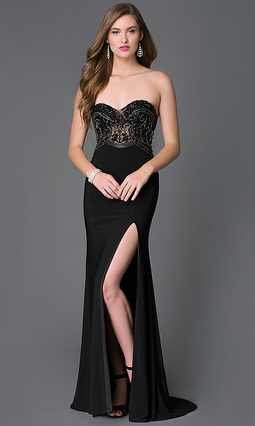 Image of long strapless sweetheart dress  Style: XC-30692 Front Image