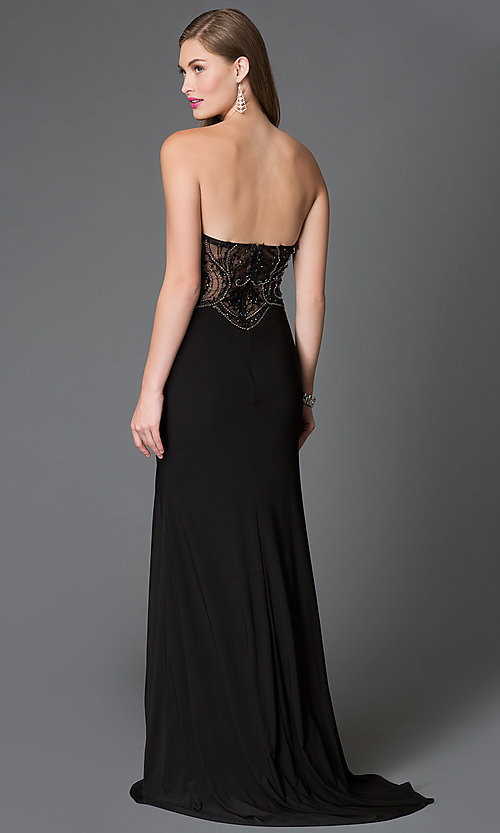 Image of long strapless sweetheart dress  Style: XC-30692 Back Image