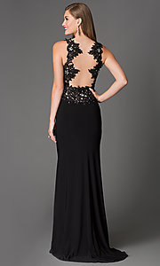 Image of Lace Beaded Long Black Xcite Prom Dress Style: XC-30693 Back Image