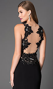 Image of Lace Beaded Long Black Xcite Prom Dress Style: XC-30693 Detail Image 1