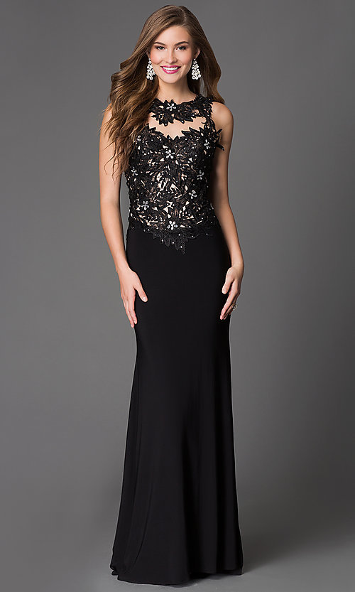 Image of Lace Beaded Long Black Xcite Prom Dress Style: XC-30693 Front Image